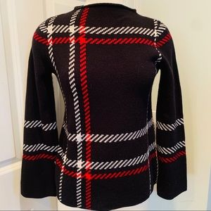[ANN TAYLOR PETITE]❤️Blackwatch Mock Crew Sweater